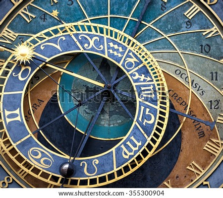 The Prague astronomical clock (Prague orloj), Czech Republic - stock photo