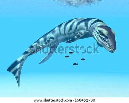 The prehistoric crocodile Dakosaurus Computer generated 3D illustration - stock photo