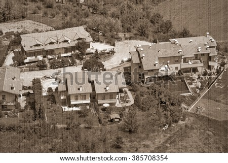 The present landscape of San - Marino, Italy, Europe. Old style. Sepia - stock photo