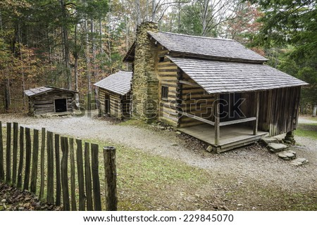 The preserved homestead of the Elijah Oliver Place in Cades Cove, Great Smoky Mountains National Park, Tennessee.  - stock photo