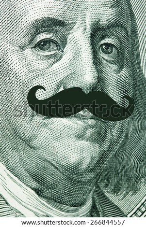 The president's face with a dollar bill with hipster mustache