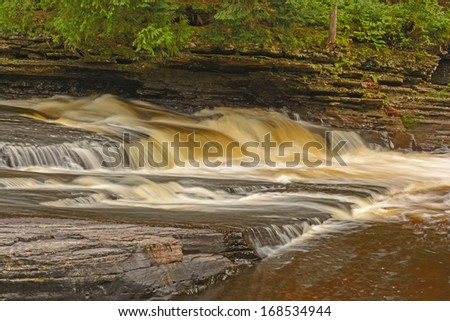 The Presque Isle River in Porcupine Mountains State Park in Michigan - stock photo