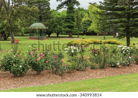 The pretty gardens of Victory Park in Traralgon, Victoria, Australia.  - stock photo