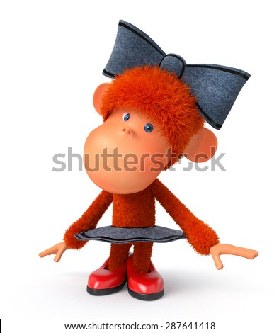 the primacy has fun to the sound of music in a skirt and with a bow/the little monkey the ballerina dances - stock photo