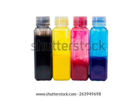 the primary color red blue yellow black ink for supply to printer - stock photo