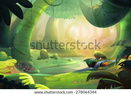 The Primeval Forest - Scene Design - stock photo