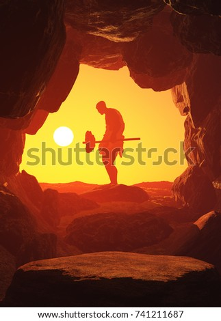 The primitive man in the cave.; 3d render