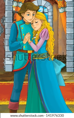 The princesses - castles - knights and fairies - The pair - illustration for the children - stock photo