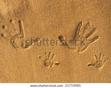 the print of hands on the sand