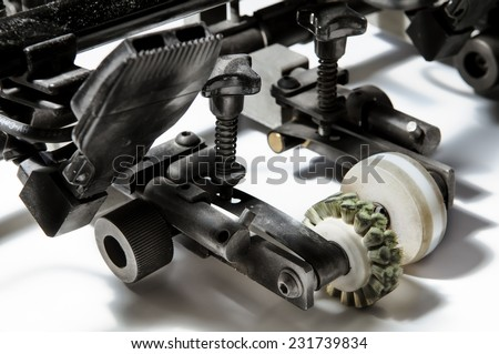 The printing press in the printing during operation. - stock photo