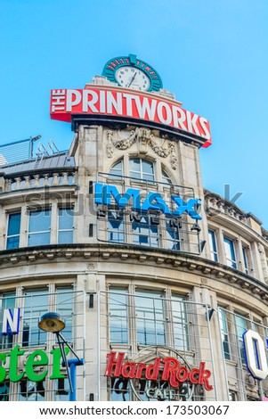 The Printworks, manchester, UK - January 27: The popularity of the Printworks in Manchester on January 27th 2013 has spurred on a redevelopment process for the area now know as Exchange Square.