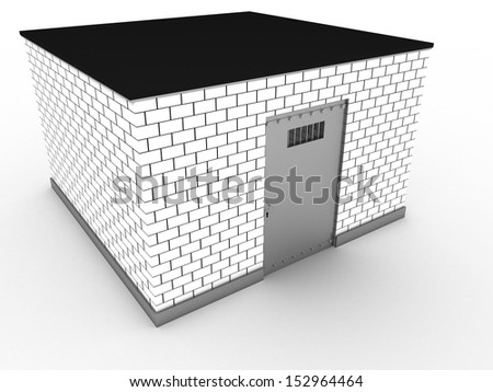The prison of white bricks 2 - stock photo