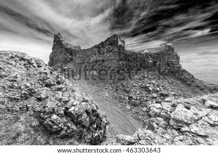 The Prison, Volcanic Rocks of the Quiraing Hill on the Isle of Skye, Black and White Edit