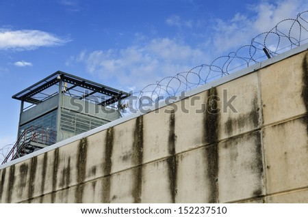 The prison wall. - stock photo