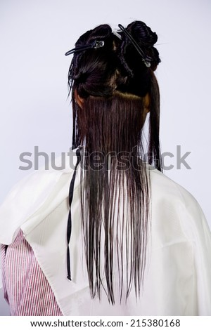 The process of hair coloring,hair coloring,Hair Colouring in process,Woman gets new hair colour,Hair Colouring in process,Hair conditioner before coloring. - stock photo