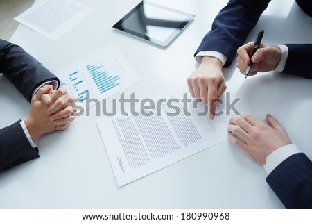 The process of signing new business contract - stock photo