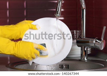 The process of washing dishes - stock photo