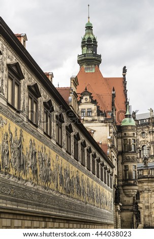 The procession of princes and the royal palace. Dresden. Germany