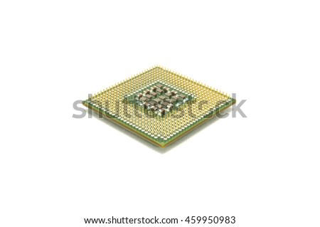 The processor on a white background close up computers of the electronic engineer of a chip memory