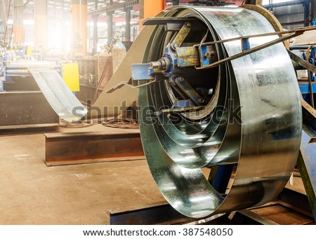 The production of zinc-coated steel mill - stock photo
