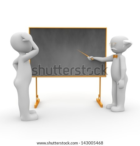 The professor teaches his students in class in something. - stock photo