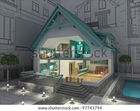 The project of residential house. 3D image. - stock photo