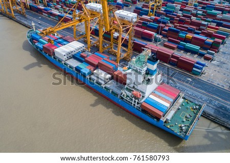 The projects underway at major ports in Thailand is expected to boost the Thailand shipping industry, Container ship in import export and business logistic. Business logistics concept, Aerial view.