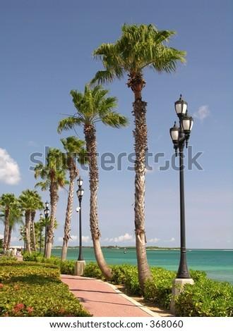 The promenade of Oranjestad / Aruba - stock photo