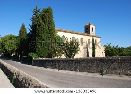 The Protestant temple, Lourmarin village, Vaucluse department, Provence, France