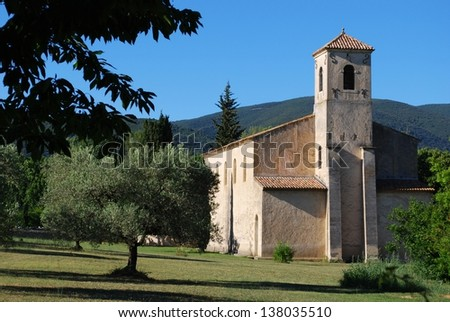 The Protestant temple, Lourmarin village, Vaucluse department, Provence, France - stock photo
