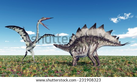 The Pterosaur Quetzalcoatlus and the Dinosaur Stegosaurus Computer generated 3D illustration