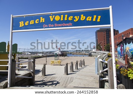 The public place to play beach volleyball in Saint John city (New Brunswick, Canada). - stock photo