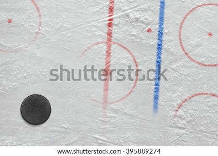 The puck on the ice hockey rink. Concept, hockey, background