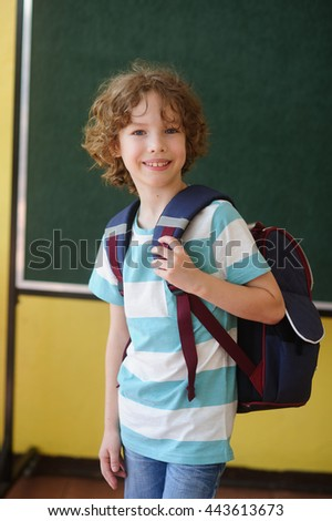 The pupil of elementary school stands in the class near a board. Behind shoulders at it a school backpack. The school student looks in the camera and smiles. Back to school.