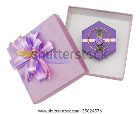 the purple gift boxes