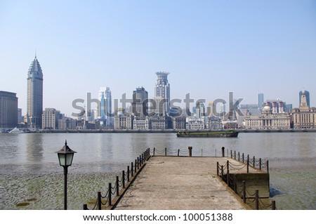 The Puxi skyline of the Bund, Shanghai - stock photo