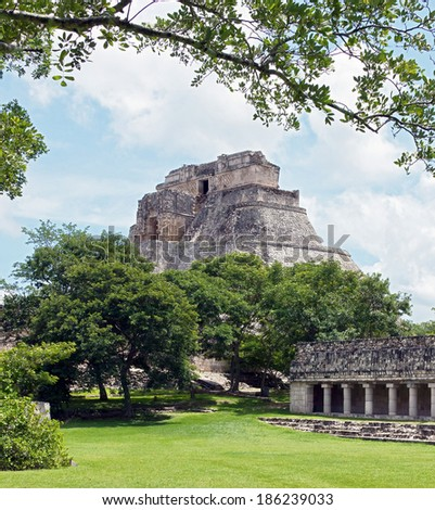 The pyramid and the suite in Uxmal - Yucatan, Mexico