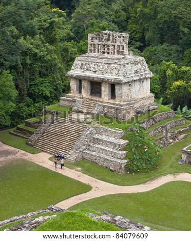 The pyramid in Palenque, Mexico - stock photo