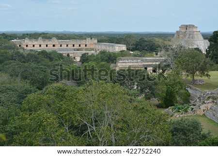 The Pyramid of the Magician and nunnery building in Uxmal, Yucatan Peninsula, Mexico.