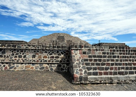 The pyramid of the moon in Teotihuacan, Mexico. - stock photo