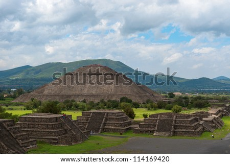 The Pyramid of the Sun, on the east side of the Avenue of the Dead, is the third-largest pyramid in the world  is an ancient sacred site located 30 miles northeast of Mexico City, Mexico. - stock photo