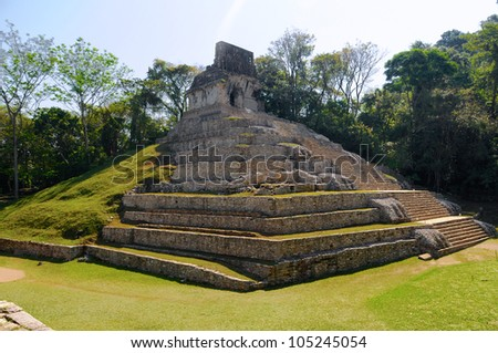 The pyramid ruins of Palenque, Mexico - stock photo