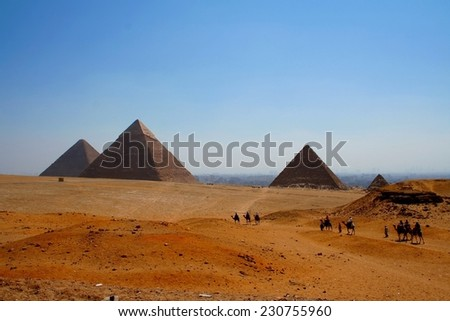 The pyramids of giza at early evening, egypt - stock photo
