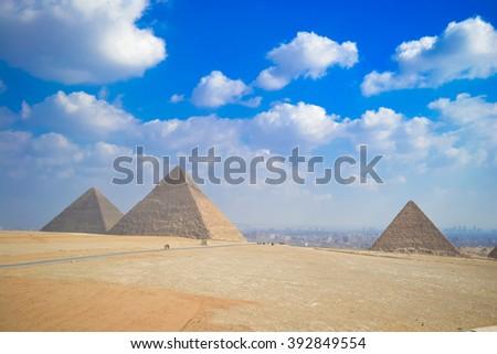 The Pyramids of Giza, Cairo, Egypt. - stock photo