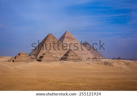 The pyramids of Giza in Egypt - stock photo