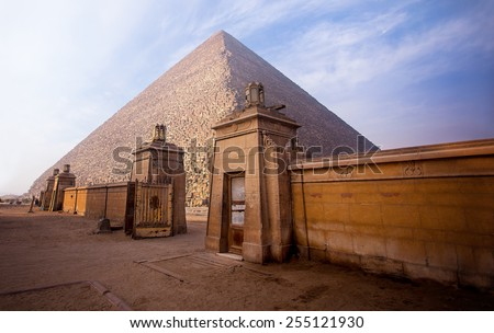 The pyramids of Giza in Egypt - stock photo