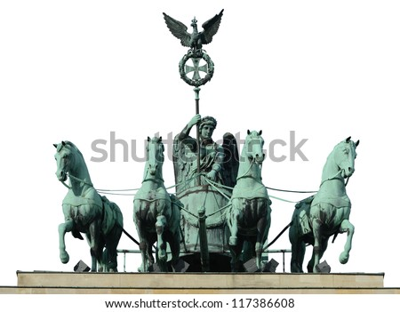 The quadriga - chariot pulled by four horses - on top of the Brandenburg Gate in Berlin (Germany), isolated on white. - stock photo