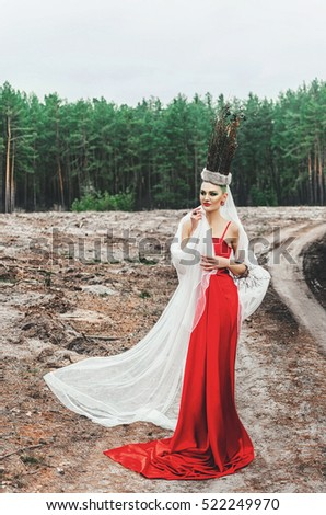 the Queen of Christmas . slim girl in red dress posing in the spirit of the snow Queen , a fairy-tale image of Christmas in the woods