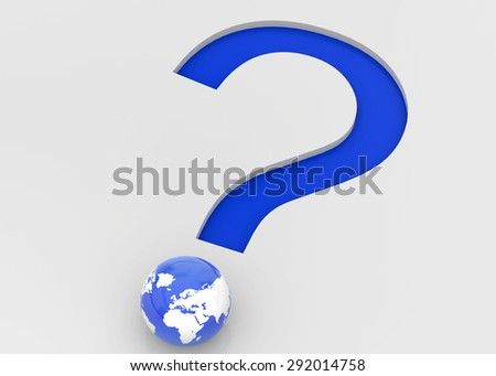 The Question Mark and the World - stock photo