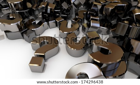 The questions just keep on coming.  Question marks piled up on a white background - stock photo